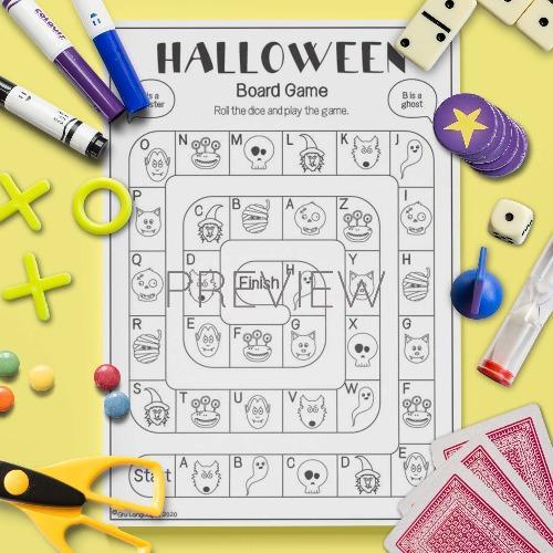 ESL English Halloween Board Game Activity Worksheet
