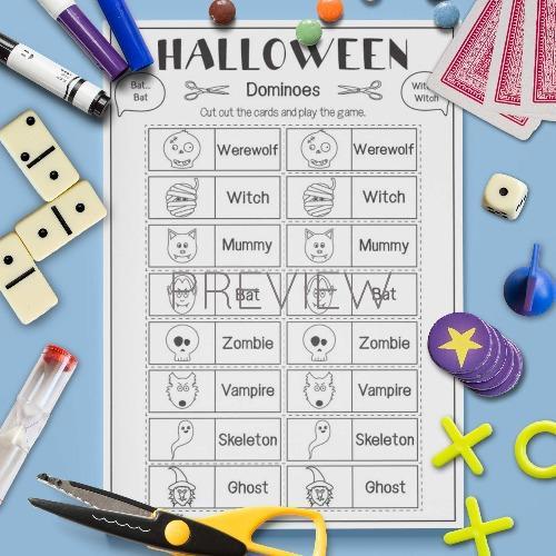 ESL English Halloween Dominoes Game Activity Worksheet