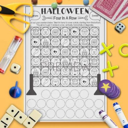 ESL English Halloween Four In A Row Game Activity Worksheet