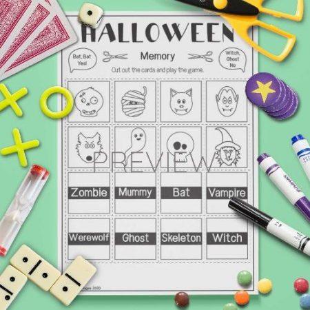 ESL English Halloween Memory Game Activity Worksheet