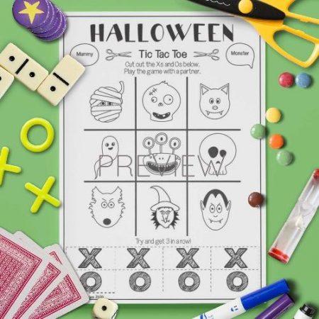 ESL English Halloween Tic Tac Toe Game Activity Worksheet