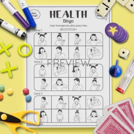 ESL English Health Bingo Game Activity Worksheet