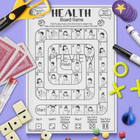 ESL English Health Board Game Activity Worksheet