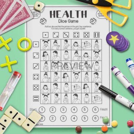 ESL English Health Dice Game Activity Worksheet