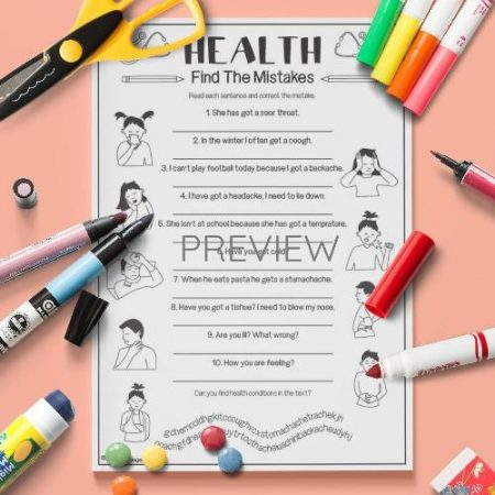 ESL English Health Find The Mistakes Activity Worksheet