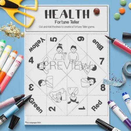 ESL English Health Fortune Teller Game Craft Activity Worksheet