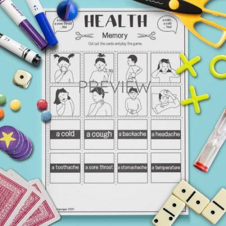 ESL English Health Memory Game Activity Worksheet
