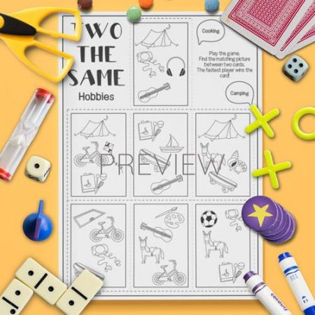 ESL English Hobbies Two The Same Card Game Activity Worksheet
