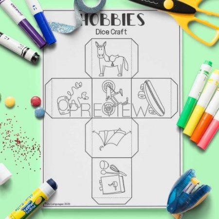 ESL English Hobbies Dice Craft Activity Worksheet