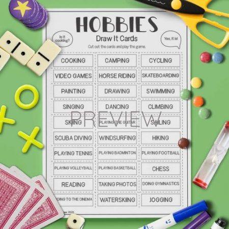 ESL English Hobbies Draw It Card Game Activity Worksheet