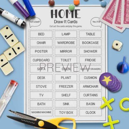 ESL English House Draw It Card Game Activity Worksheet