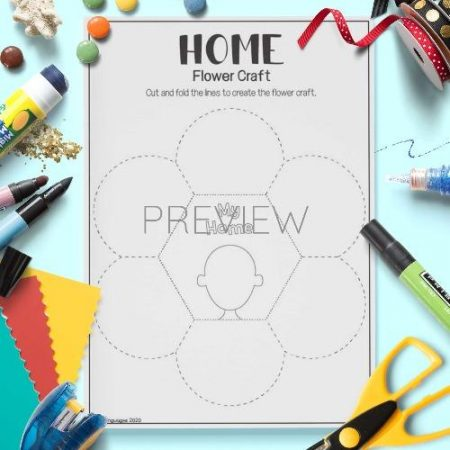 ESL English House Flower Craft Activity Worksheet