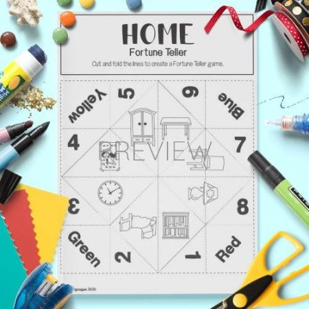 ESL English House Fortune Teller Craft Game Activity Worksheet