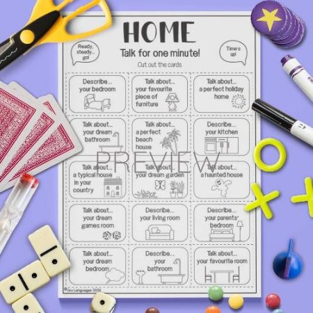 ESL English House Talk For A Minute Card Game Activity Worksheet