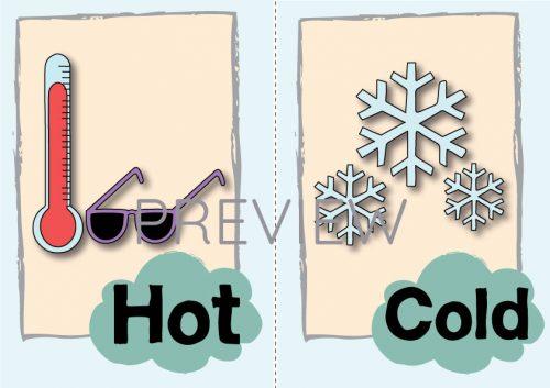 ESL English Hot Cold Flashcard