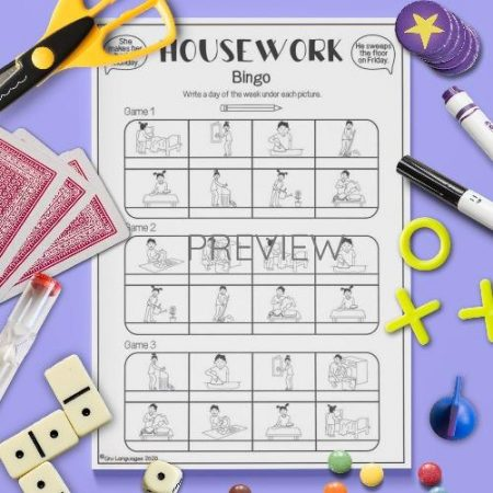 ESL English Housework Bingo Activity Worksheet
