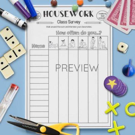 ESL English Housework Class Survey Activity Worksheet