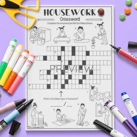 ESL English Housework Crossword Activity Worksheet