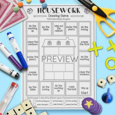 ESL English Housework Drawing Game Activity Worksheet
