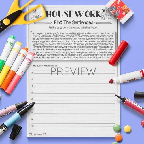 ESL English Housework Find The Sentences Activity Worksheet