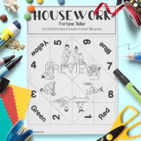 ESL English Housework Fortune Teller Game Craft Activity Worksheet