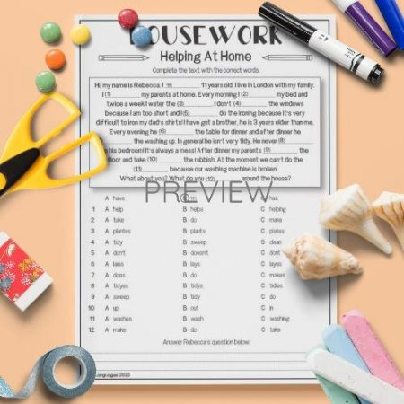 ESL English Housework Gap Fill Activity Worksheet