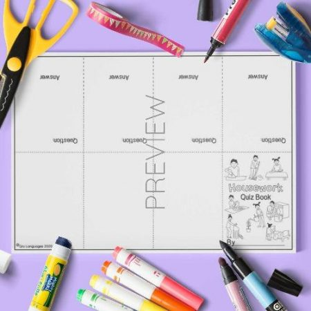 ESL English Housework Quiz Book Craft Activity Worksheet