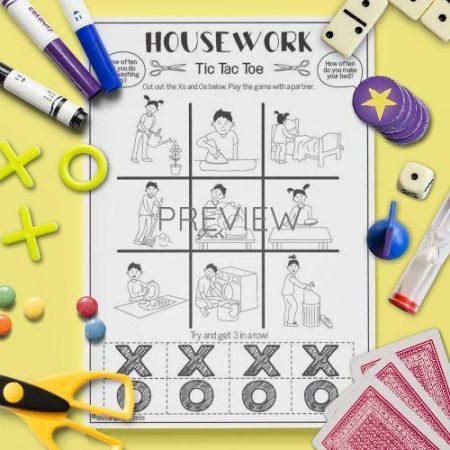 ESL English Housework Tic Tac Toe Game Activity Worksheet