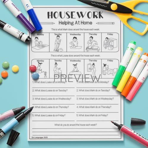 ESL English Housework Timetable Activity Worksheet