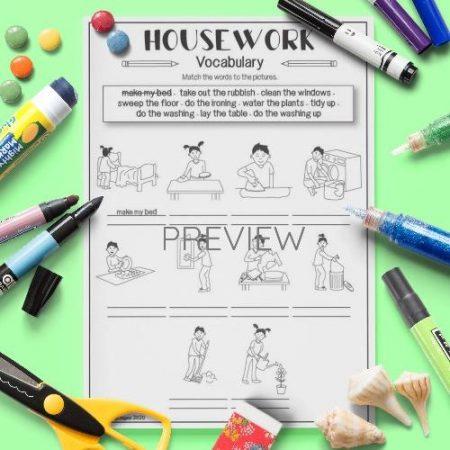 ESL English Housework Vocabulary Activity Worksheet