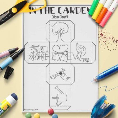 ESL English Garden Dice Craft Activity Worksheet