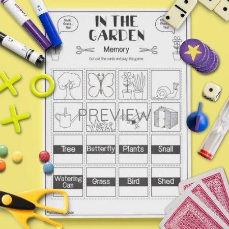 ESL English Garden Memory Game Activity Worksheet