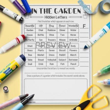 ESL English Garden Hidden Letters Activity Worksheet