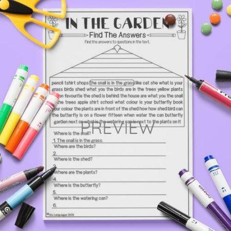 ESL English Garden Find The Answers Activity Worksheet