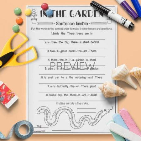 ESL English Garden Sentence Jumble Activity Worksheet