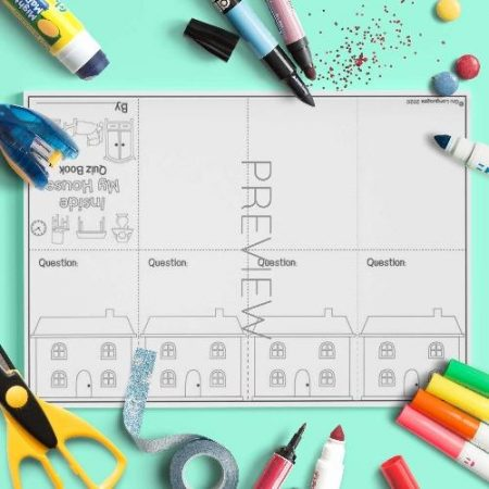 ESL English House Quiz Book Craft Activity Worksheet