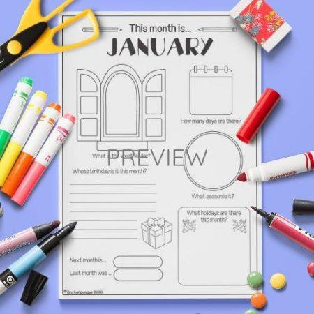 ESL English January Writing Activity Worksheet