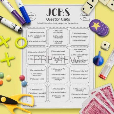 ESL English Jobs Question Cards Activity Worksheet