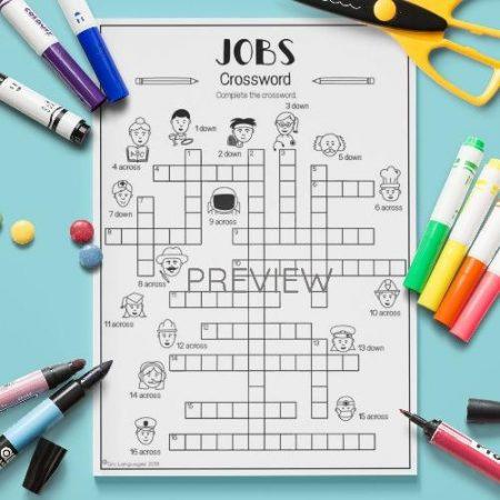 ESL English Jobs Crossword Activity Worksheet