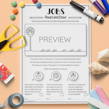 ESL English Jobs Read And Draw Activity Worksheet