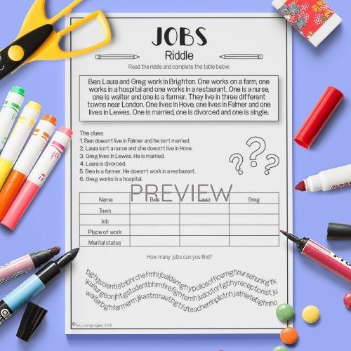 ESL English Jobs Riddle Activity Worksheet