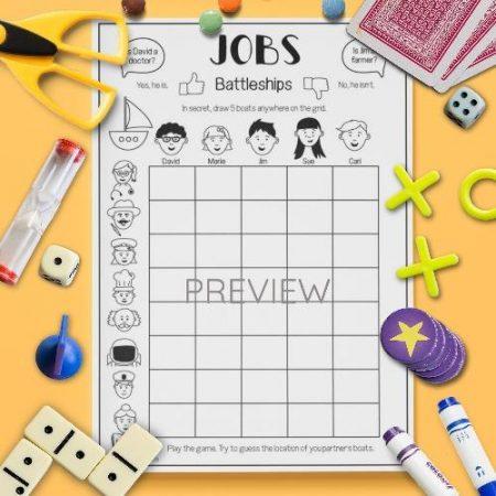 ESL English Jobs Battleships Game Activity Worksheet