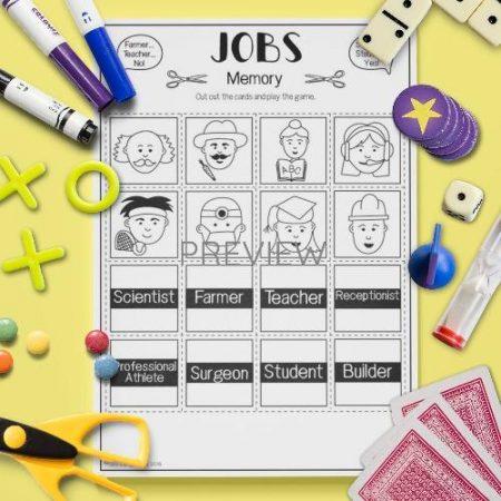 ESL English Jobs Memory Game Activity Worksheet