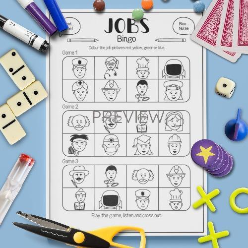 ESL English Jobs Bingo Game Activity Worksheet