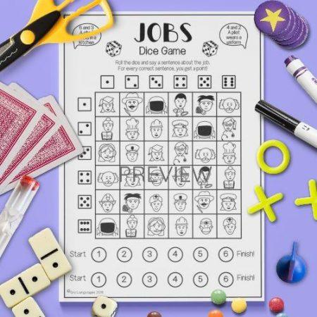 ESL English Jobs Dice Game Activity Worksheet
