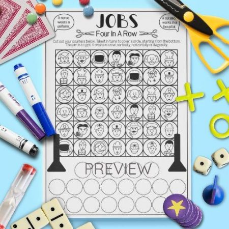 ESL English Jobs Four In A Row Game Activity Worksheet