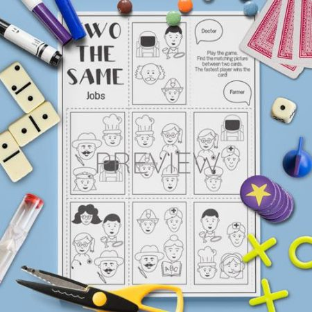 ESL English Jobs Two The Same Card Game Activity Worksheet