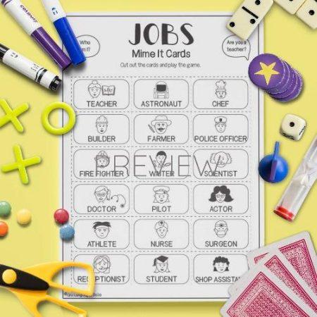ESL English Jobs Mime It Card Game Activity Worksheet