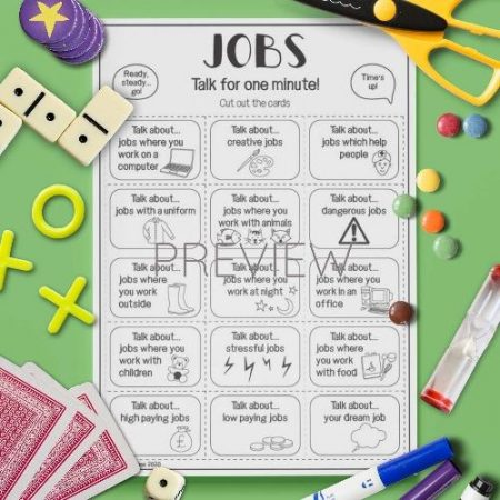 ESL English Jobs Talk For A Minute Card Game Activity Worksheet