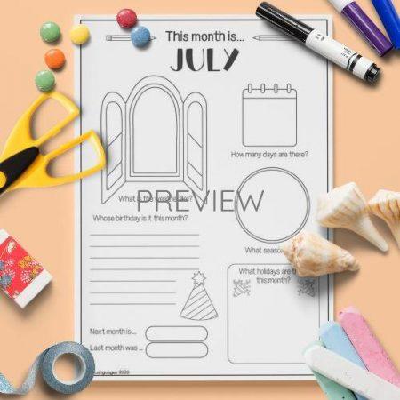 ESL English  July Writing Activity Worksheet